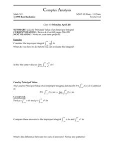 Complex Analysis:  Improper Integral Worksheet