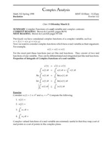 Complex Analysis:  Complex Functions Worksheet