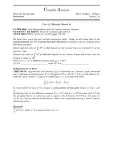 Complex Analysis:  Path Independence Worksheet