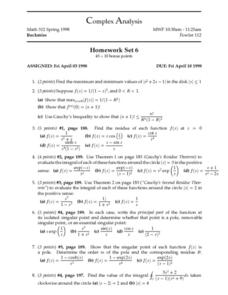 Complex Analysis:  Homework Set 6 - Cauchy's Residue Theorem Worksheet