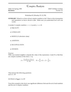 Complex Analysis:  Complex Numbers Worksheet