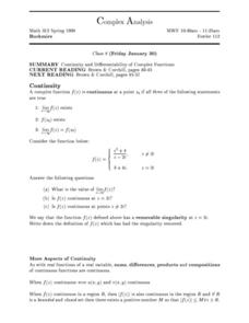 Complex Analysis:  Complex Function Worksheet