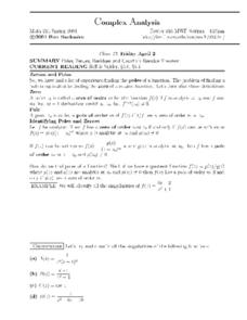 Complex Analysis:  Residue Theorem Worksheet