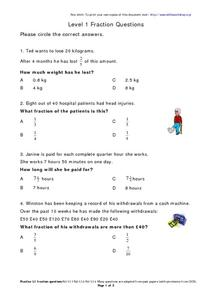 Level One Fraction Questions- Short Word Problems Worksheet