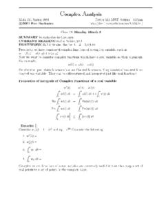 Complex Analysis:  Introduction to Contours Worksheet