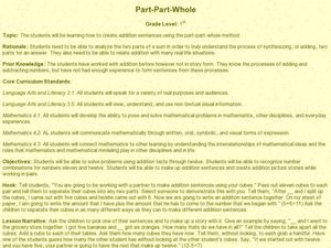 Part-Part-Whole Lesson Plan
