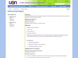 Subtracting Integers Lesson Plan
