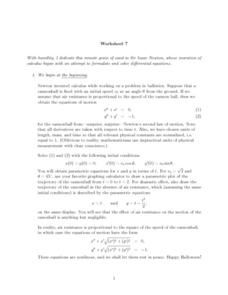 Worksheet 7.  Sir Isaac Newton Worksheet