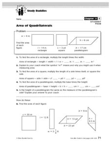 Area of Quadrilaterals Lesson Plan