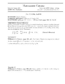 Multivariable Calculus:  Green's Theorem Worksheet