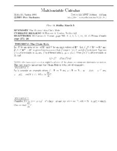 Multivariable Calculus:  Multivaribale Chain Rule Worksheet