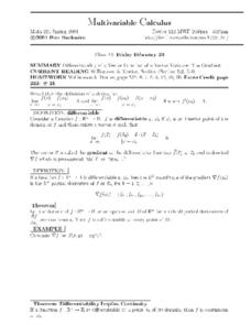 Multivariable Calculus:  The Gradient Worksheet