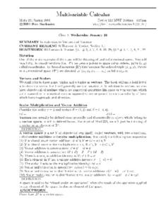 Multivariable Calculus:  Introduction to Vectors Worksheet