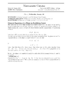Multivariable Calculus:  Euclidean Geometry Worksheet