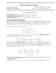 Multivariable Calculus:  Review of Linear Systems Worksheet