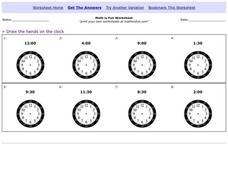 Clocks Worksheet