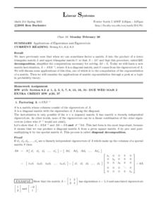 Linear Systems:  Applications of Eiginvalues Worksheet