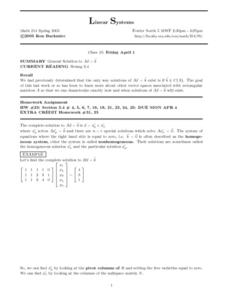 Linear Systems:  General Solutions Worksheet