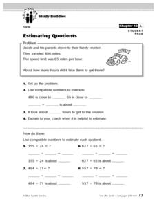 Study Buddies: Estimating Quotients Lesson Plan