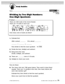 Study Buddies: Dividing by Two-Digit Numbers/One-Digit Quotients Lesson Plan