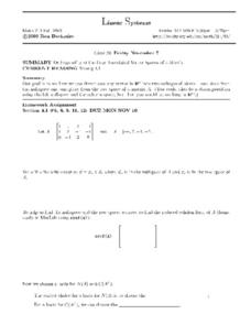 Linear Systems:  Vector Spaces of a Matrix Worksheet