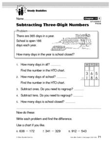 Study Buddies: Subtracting Three-Digit Numbers Lesson Plan