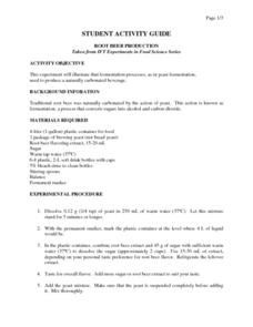Root Beer Production Worksheet