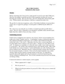 Meat Processing Worksheet