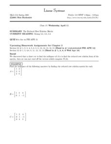 Linear Systems:  The Reduced Row Echelon Matrix Worksheet