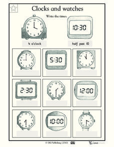 Clocks and Watches Worksheet