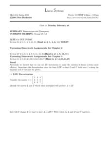 Linear Systems;  Permutations and Transposes Worksheet