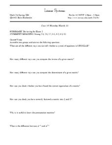 Linear Systems and Reviewing for Exam 2 Worksheet
