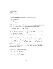 Discussion Sheet 1:  Three-Dimensional Space Worksheet