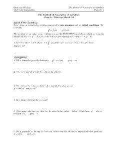 The Method of Separation of Variables Worksheet
