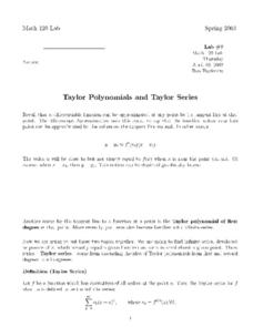 Taylor Polynomials and Taylor Series Worksheet