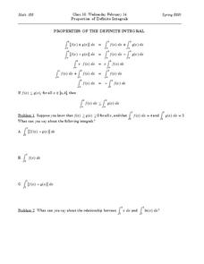 Properties of the Definite Integrals Worksheet