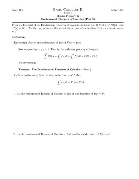 Basic Calculus II: Fundamental Theorem of Calculus Worksheet