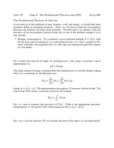 The Fundamental Theorem and IVP's Worksheet