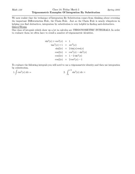 Trigonometric Examples Of Integration By Substitution