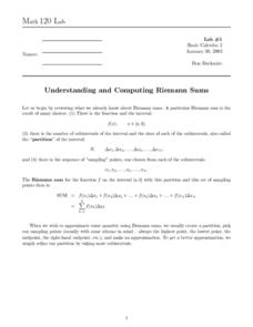 Understanding and Computing Riemann Sums Worksheet