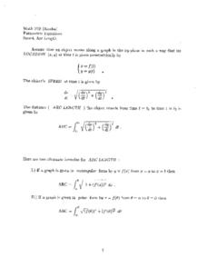 Parametric Equations:  Speed, Arc Length Worksheet
