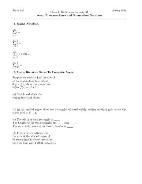 area  riemann sums and summation notation worksheet for higher ed