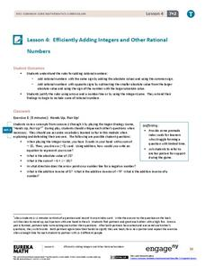 Efficiently Adding Integers and Other Rational Numbers Assessment