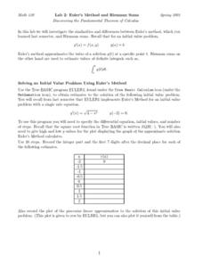 Lab 2:  Euler's Method and Riemann's Sums Worksheet