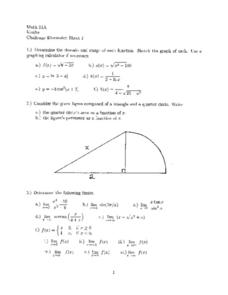 Challenge Discussion Sheet 1:  Function Worksheet