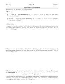 Multivariable Optimization Worksheet