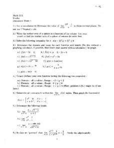 Discussion Sheet 1:  Domain & Range of a Function Worksheet