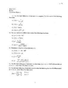 Discussion Sheet 4:  Limits & Differentiation Worksheet