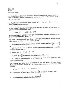 Discussion Sheet 7:  Intermediate Value Theorem Worksheet