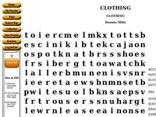 Clothing Worksheet